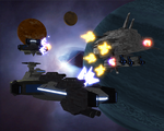 The Sev battleship Perdition engages two Bob battlecruisers, the Charon and the Styx.
