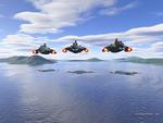 Three Pandoran battleships make planet fall.