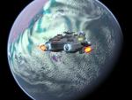 A lone ship on patrol.